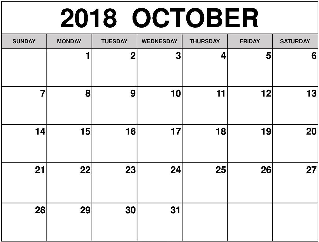 Free Blank October Calendar