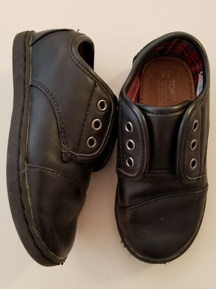 6caeba8b3c9 T8 Toddler Unisex Tom s Paseo Black Synthetic Vegan Leather Walking Shoes  Loafer  Toms  CasualShoes