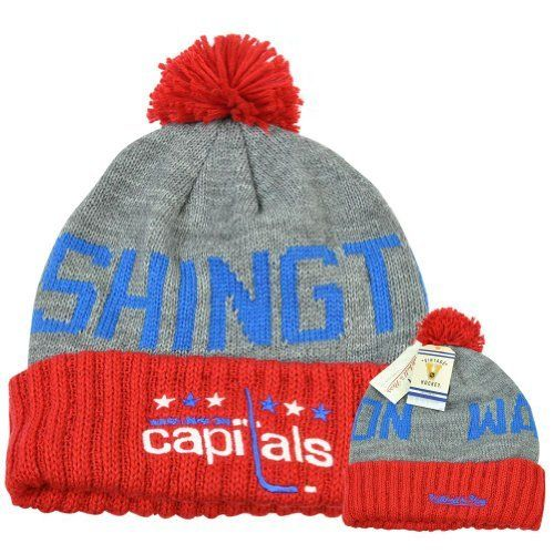 984aa7c8 Washington Capitals Mitchell & Ness Vintage Cross The Line Cuffed Knit Hat  by Mitchell & Ness