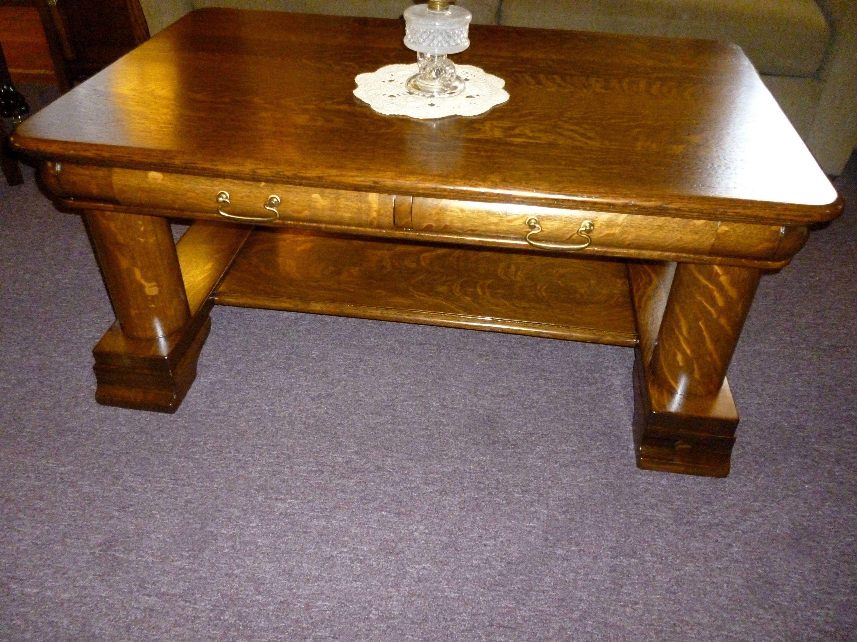 Antique Oak Coffee Table Refinished 1900u0027s Quartersawn Tiger Oak 2 Drawers  By SkipsAntiqueOak On Etsy