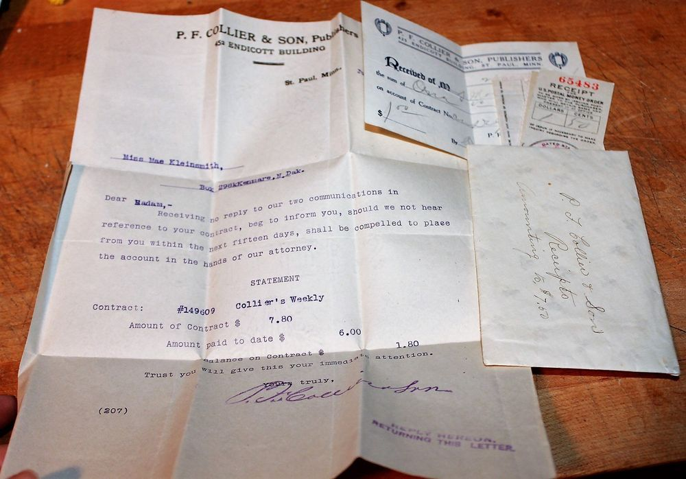 Collection Letter And Receipts Pf Collier And Son Publishers