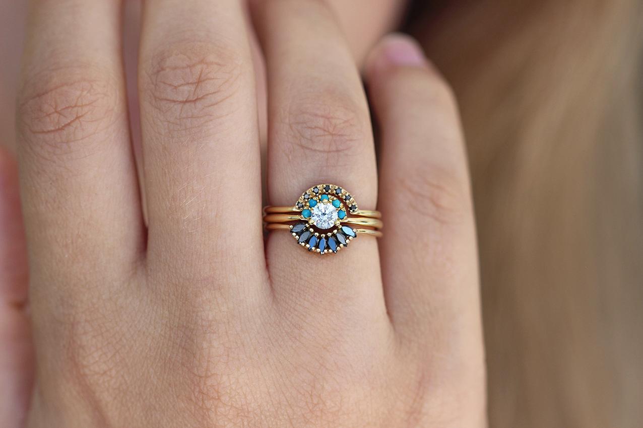 Black Marquise Diamond Wedding Ring Diamond Crown Ring