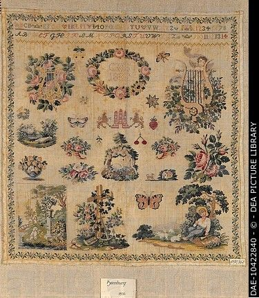 An Absolutely Fabulous 19th Century German Biedermeier Sampler Initials CSH & Dated 1832 ~ DEA PICTURE LIBRARY