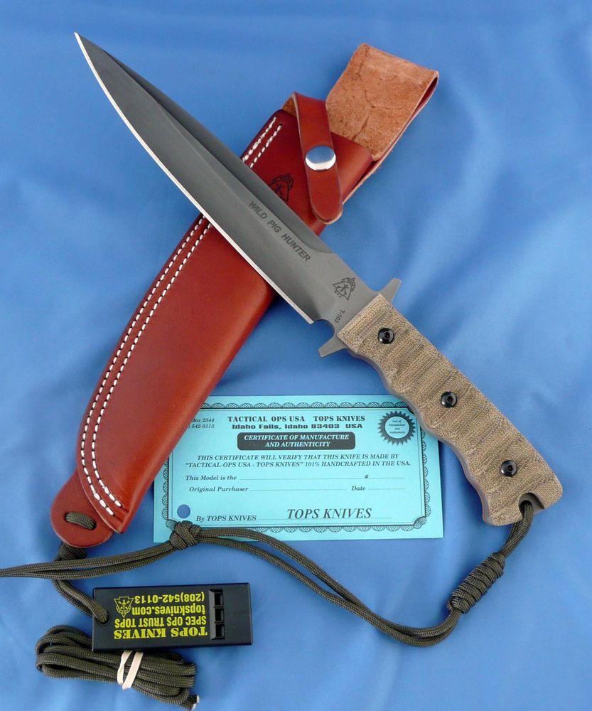 Tops Wild Pig Hunter Knife 1095 Carbon Steel Green Canvas Micarta Ebay Tops Knives Knife Wild Pig