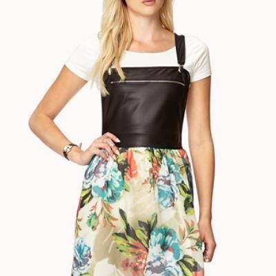 Edgy Floral Overall Dress