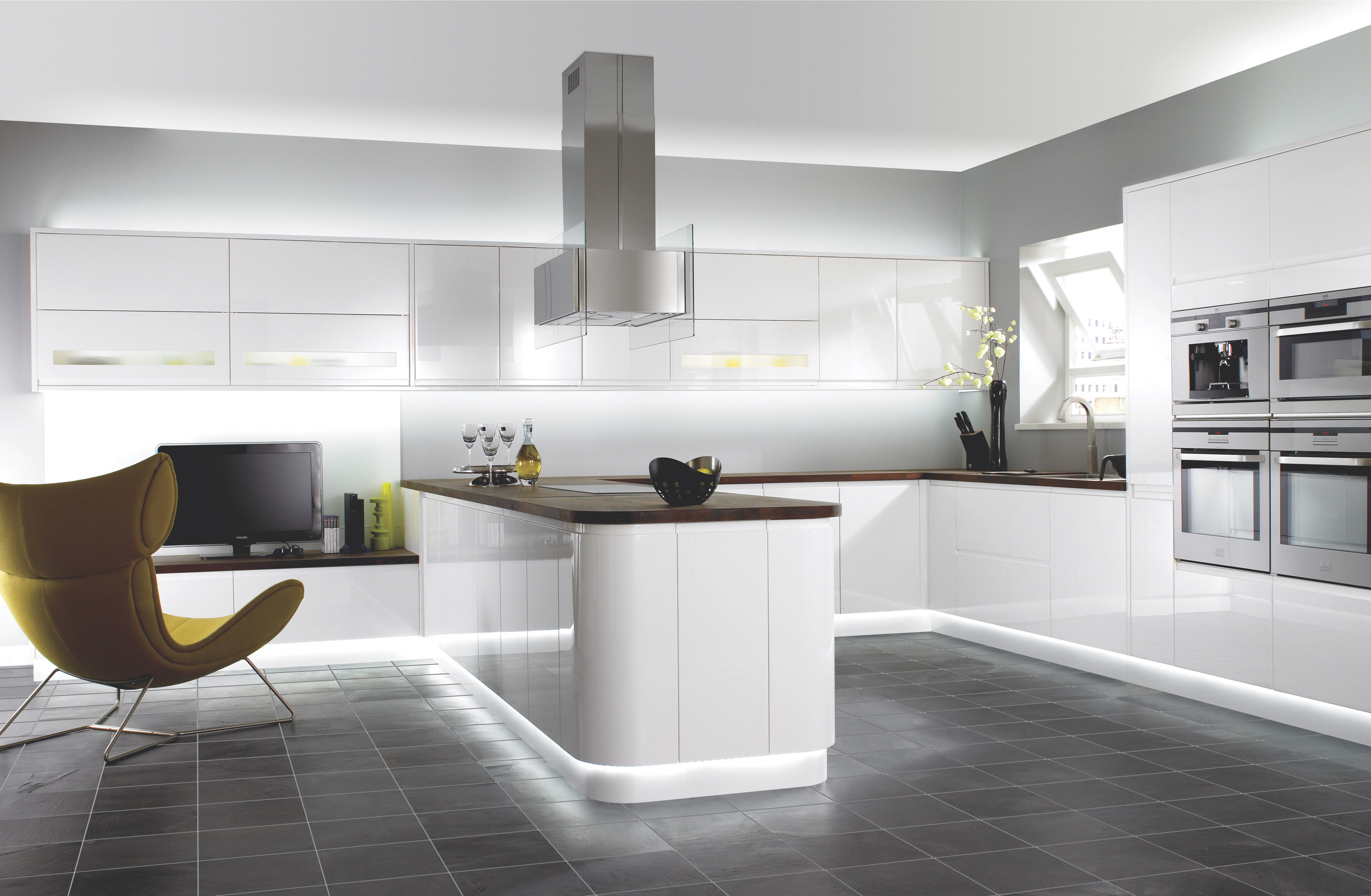Contemporary White Kitchen With Gray Tile Floors Contemporary