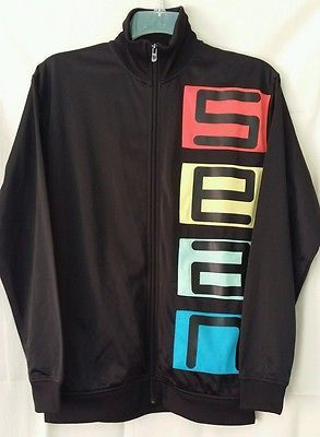 sean john mens full zip track jacket black polyester size medium big