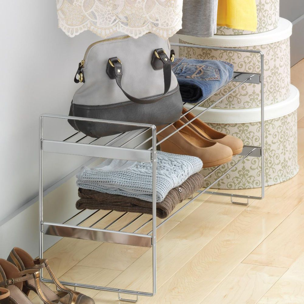 Shoe Organizer Closet Storage Rack Clothes Shelves Space Saving Stackable  Stand