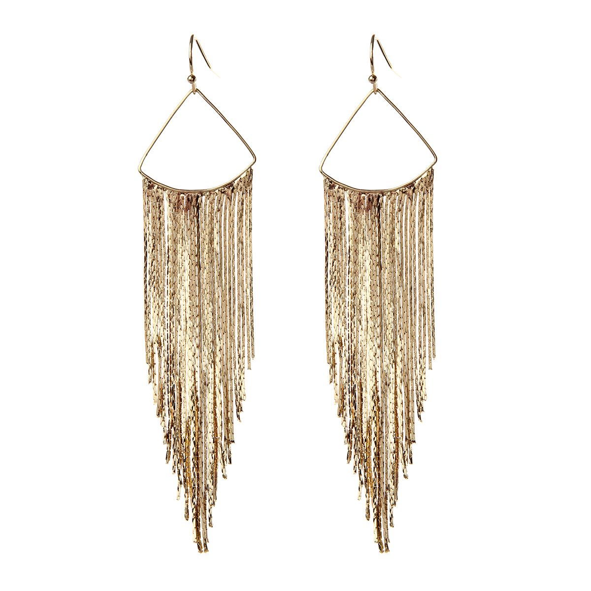 Metallic Fringe Earrings Available In Gold Silver And Gunmetal Tone Br
