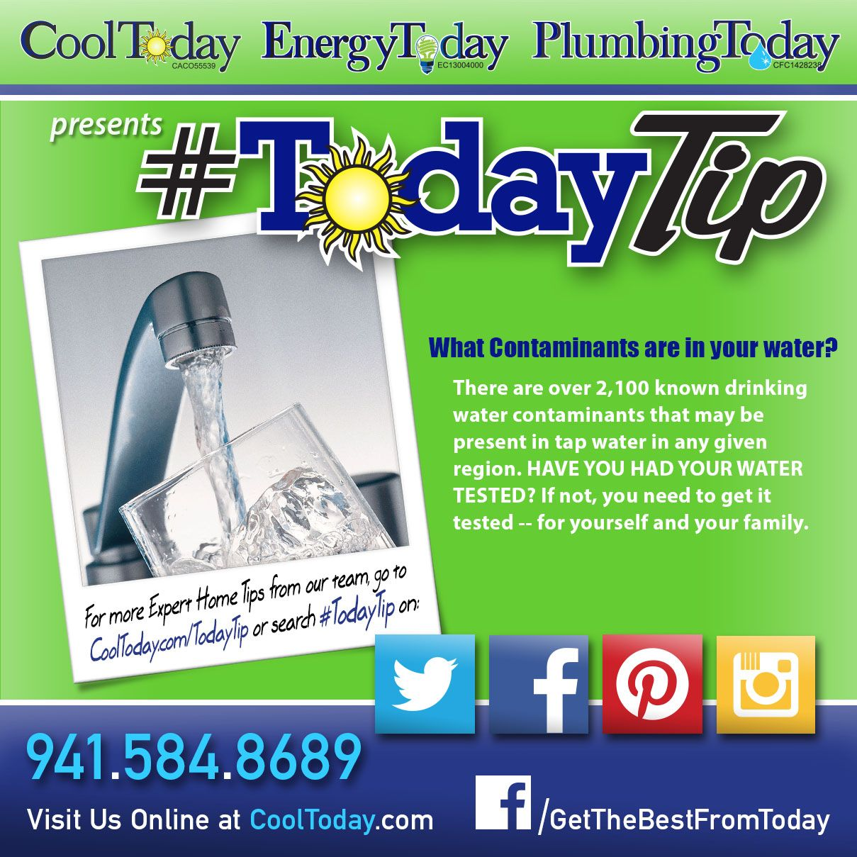 Your water could be full of contaminants! #TodayTip#CleanWater#Water#FamilySafty