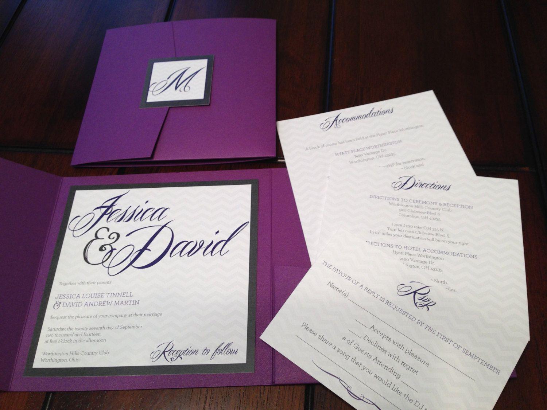 Purple and Silver Glitter Custom Pocket Wedding Invitation Suite ...
