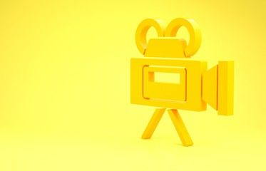 Yellow Cinema camera icon isolated on yellow background Video camera Movie sign Film projector Minimalism concept 3d illustration 3D render