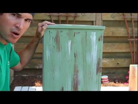 How-to Paint/Distress/Antique Furniture Project 1 painted green
