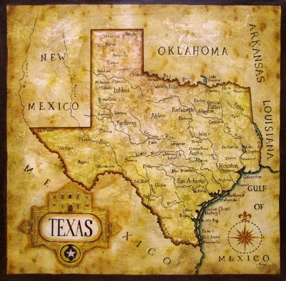 Map Of Texas After Its Statehood Induction Into The United States - 1836 us map