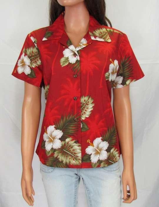 e0238668ff04 Ka Pua - Lady Cotton Fitted Blouse | Women's Palm Tree Shirt ...
