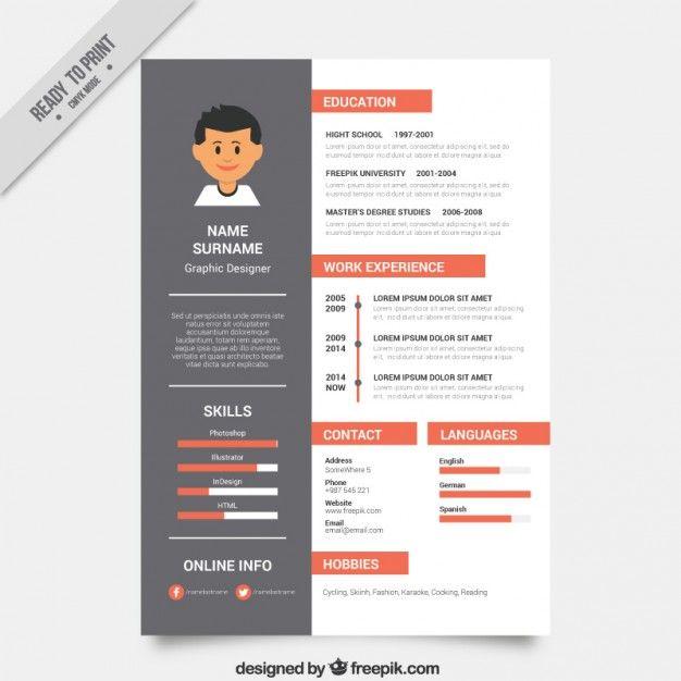 httpsimagefreepikcomfree vectorgraphic cv designresume designresume template - Resume Template Graphic Design
