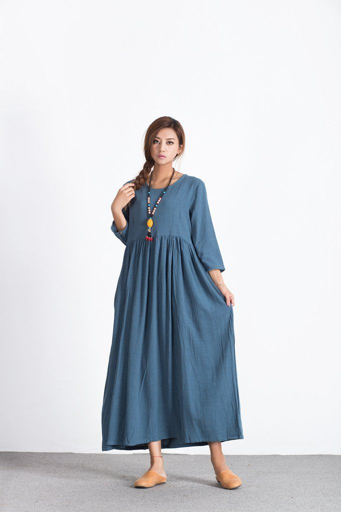 dabf1466fea Oversize Linen Cotton loose maxi blue  dress plus size  Custom-made  clothes  A38