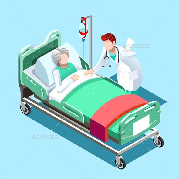 Medical Patient Bed And Doctor Talking Vector Isometric People Medical Illustration 3d Illustration Hospital
