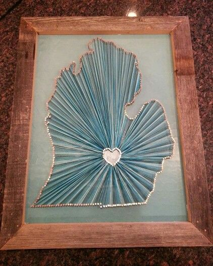 String Art Of Michigan With My Heart In East Lansing Copper Nails