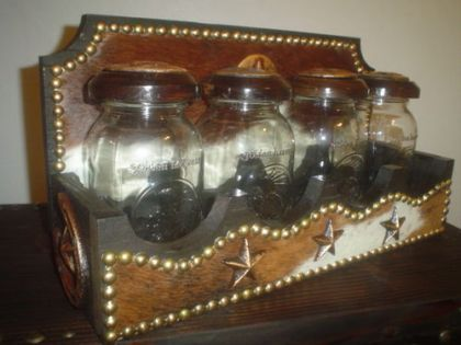 Wonderful CHARMING MASON JAR KITCHEN CANISTERS WITH COWHIDE COVERED WOOD RACK |  Western Decor By Signature Cowboy