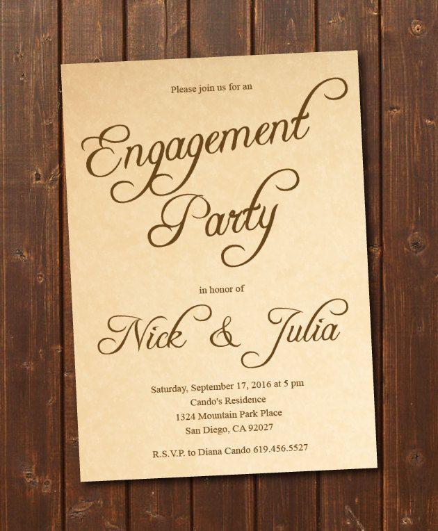 wedding invite wordings india%0A Printable Rustic Engagement Invitation ECard Invite  Vintage Engagement  Party Invitation Template