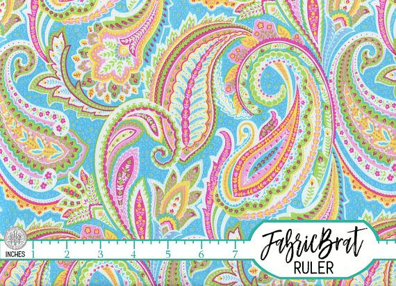 PINK BLUE PAISLEY Fabric By The Yard Fat Quarter Pink Green Orange Paisley