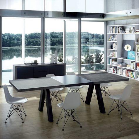 Table à Manger Extensible Design Noir Mat Et Béton Kallai Zoom