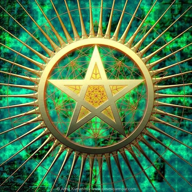 """""""The Pentacle, has over 200 expressions of 1:1.618 hidden within it's simple geometry. Where any two lines intersect, the proportions happen to be Fibonacci Numbers. When you draw a smaller Pentacle inside the larger Pentacle, it reduces or compresses at the rate of 1.618. And so on forever, diminishing into the micro atom or enlarging to the macro universe."""" – Jain 108 Mathemagics : Excerpt from 2002 ~ The BOOK of PHI, Vol 1, The Living Mathematics Of Nature  The Resonance Project • The…"""
