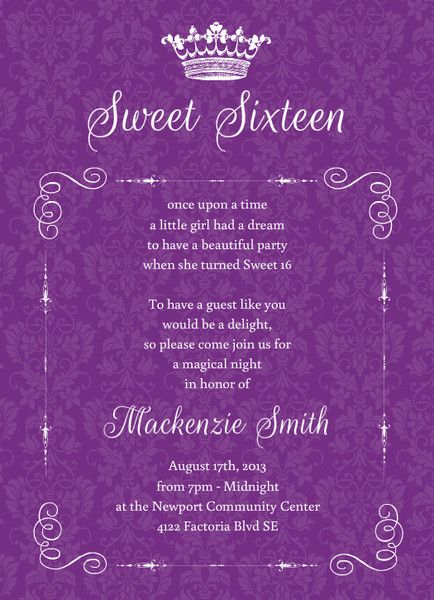 Royal Purple Damask Sweet Sixteen Invitation Sweet Sixteen - Sweet 16 party invitations templates