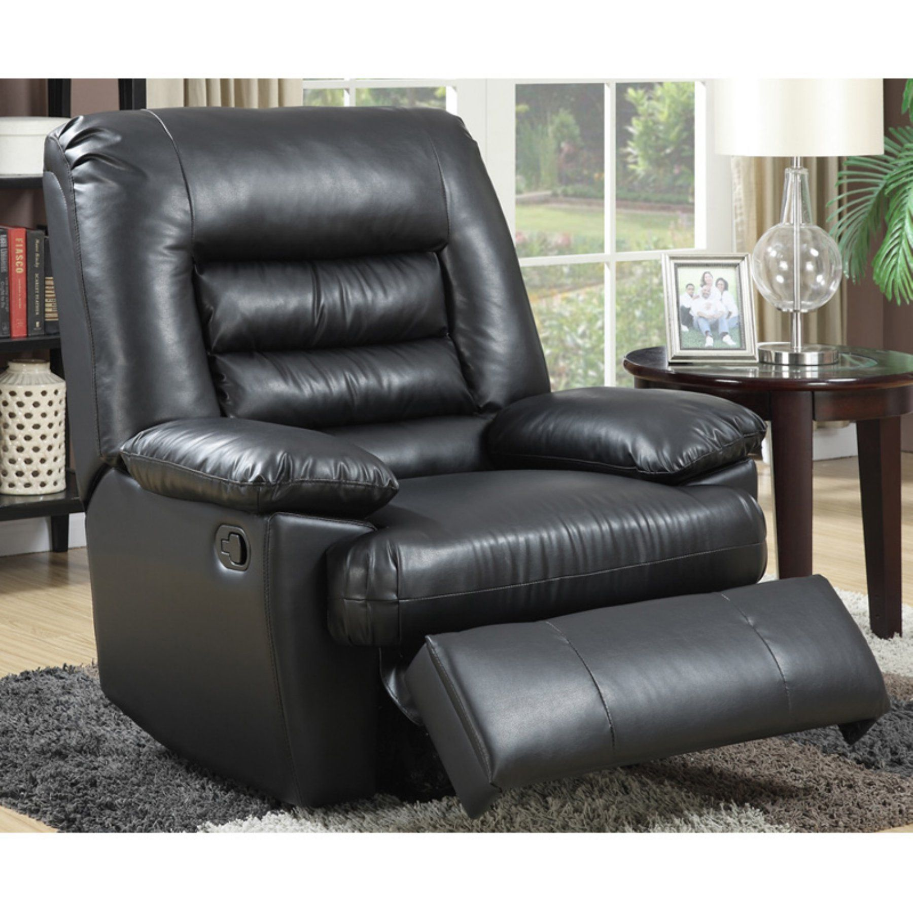 Serta big tall faux leather memory foam massage recliner fd98007d3855434b90c054712ae92c22