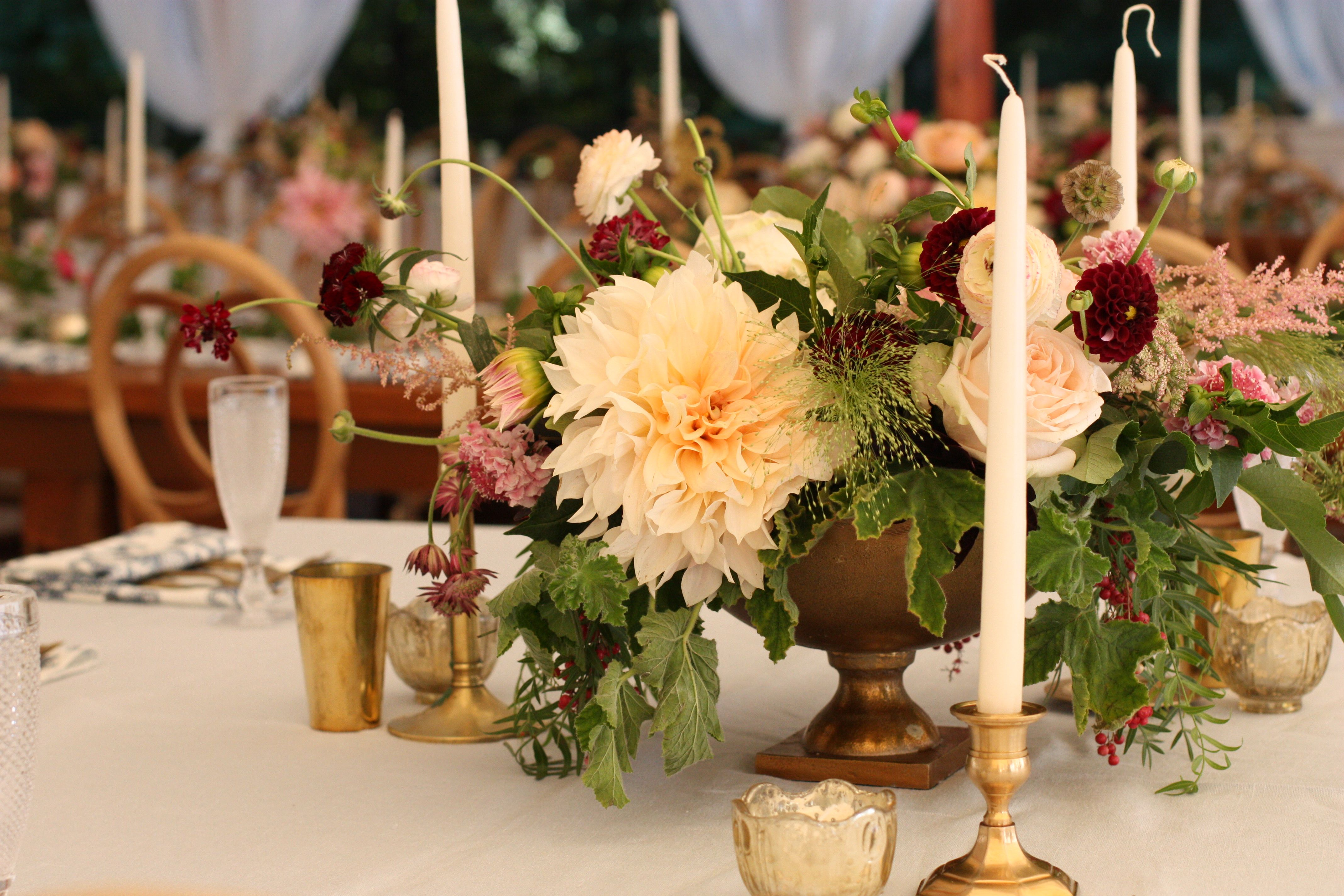 Fall inspired cafe au lait dahlia centerpiece in blush and