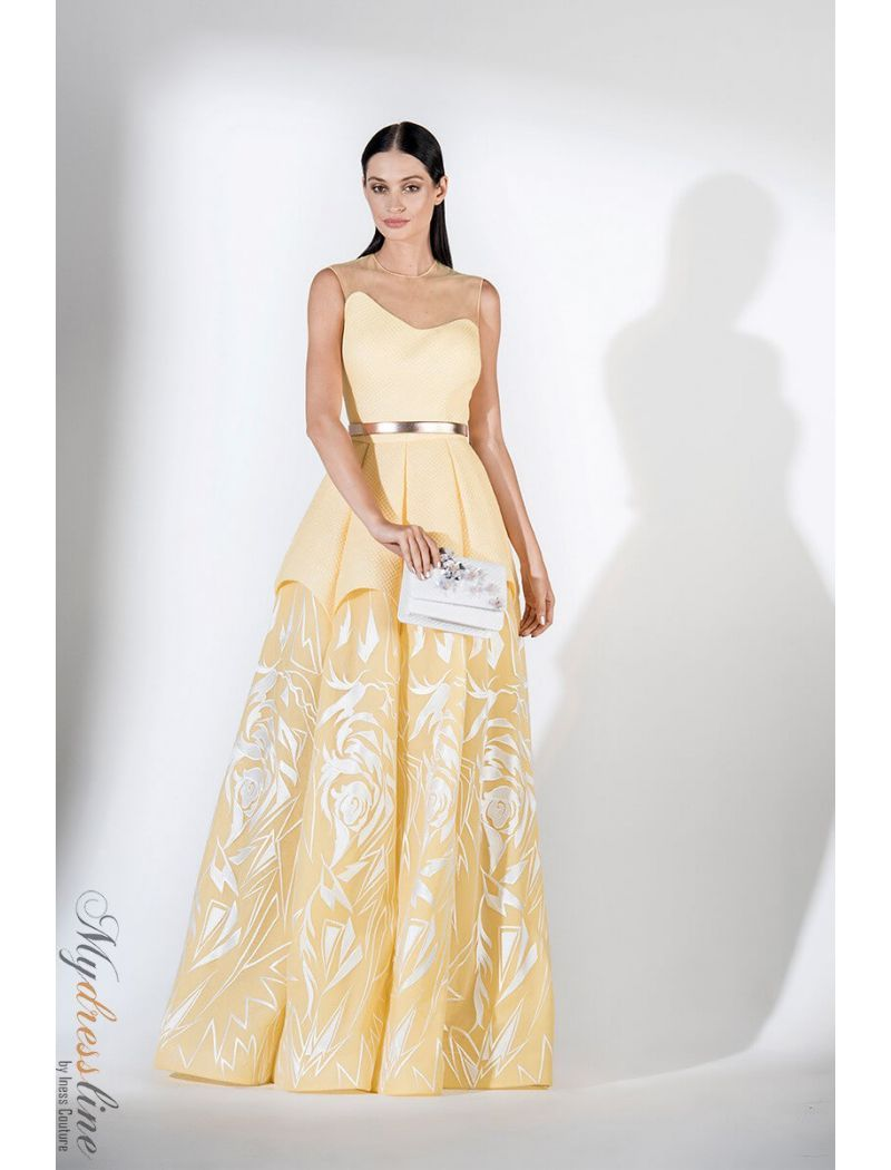 aa8c4b48ac7b Saiid Kobeisy RE3441 lime light yellow brocade and tulle brode, strapless  curved illusion top, multi-layered structured long dress