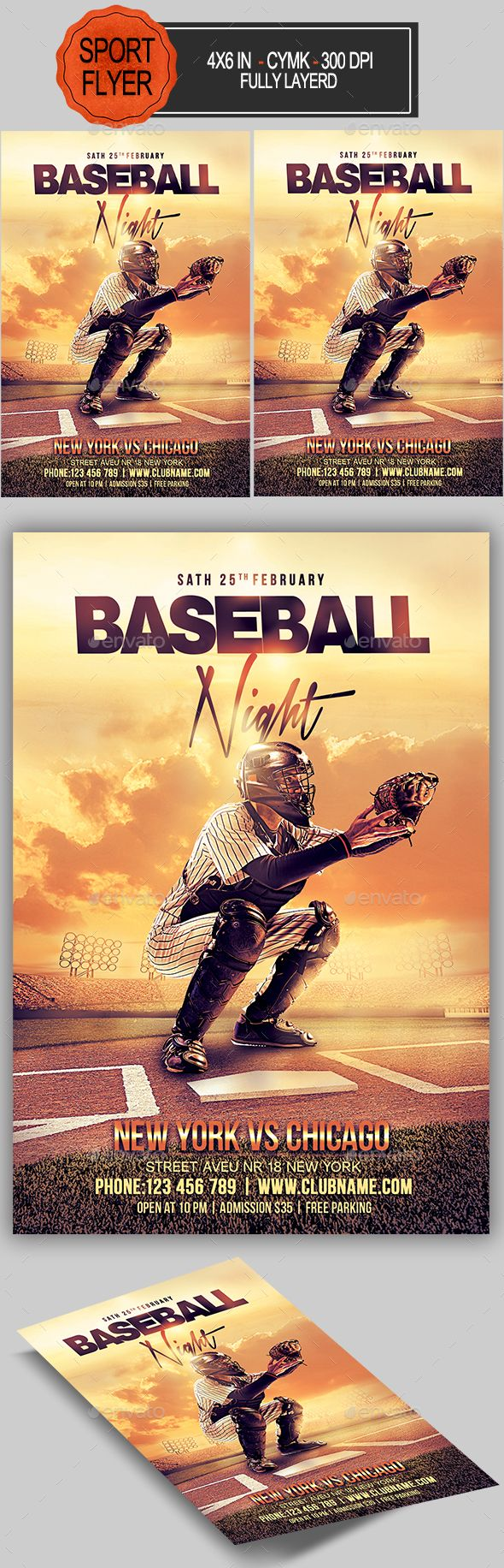 Baseball Flyer  Fonts Flyer Template And Event Flyers
