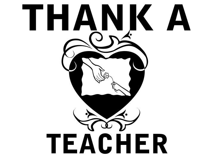 Teacher Appreciation sign in black and white-