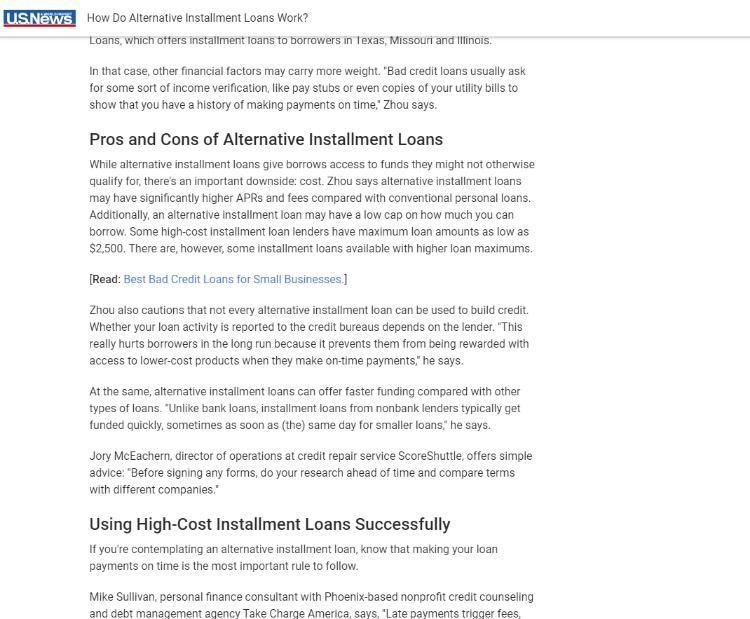 How Do Alternative Installment Loans Work Installment Loans No Credit Loans Loans For Bad Credit