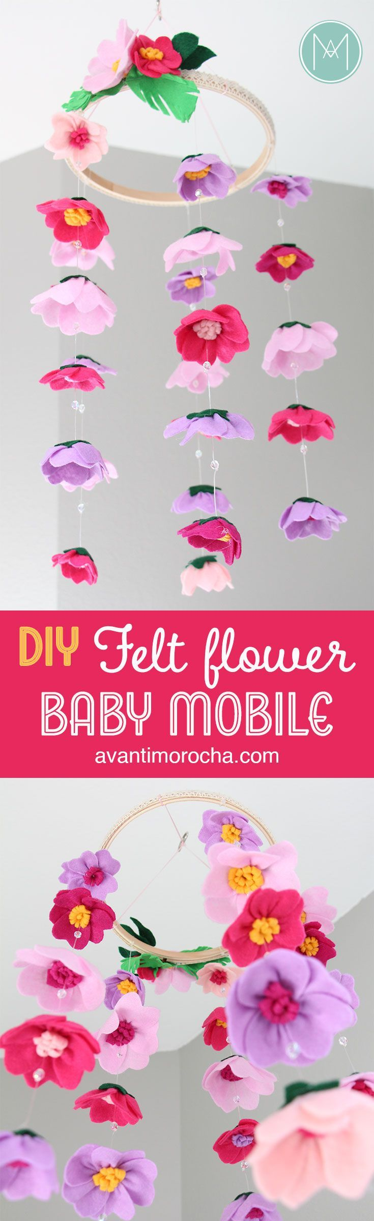 DIY Felt Flower Baby Mobile #feltflowertemplate DIY Felt Flower Baby Mobile | Movil de Flores de Fieltro #feltflowertemplate