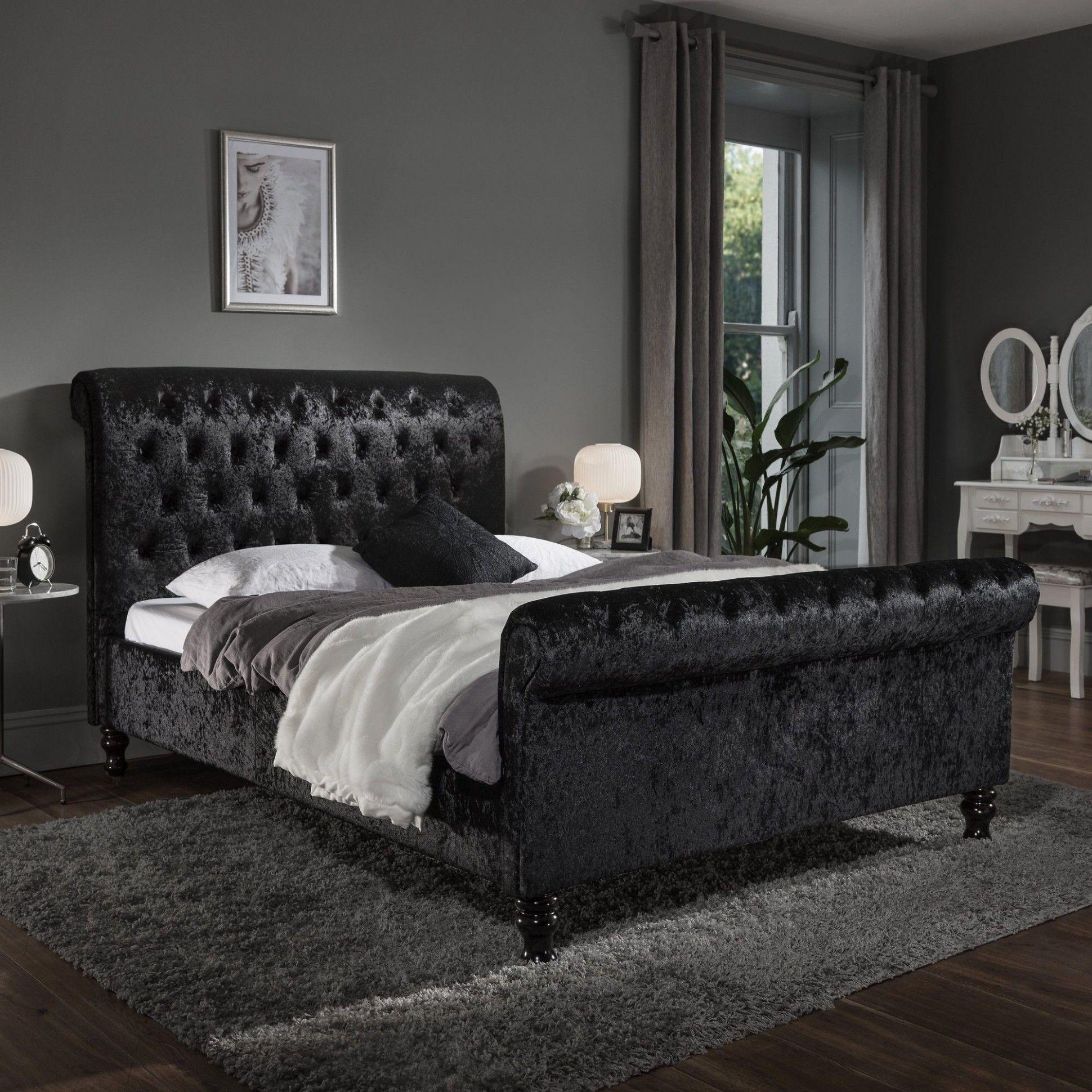 Crushed Velvet Bedroom Sofa in 7  Crushed velvet sleigh bed