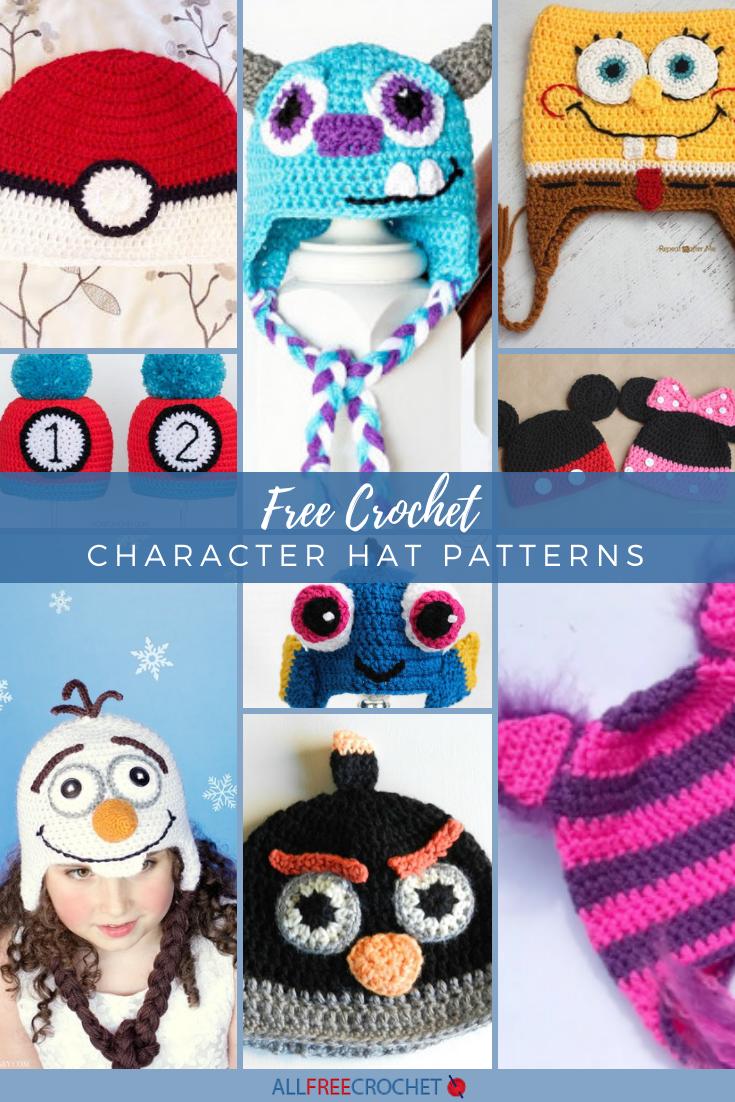 50 Free Crochet Character Hat Patterns Crochet Character Hats Crochet Hats Free Pattern Crochet Animal Hats