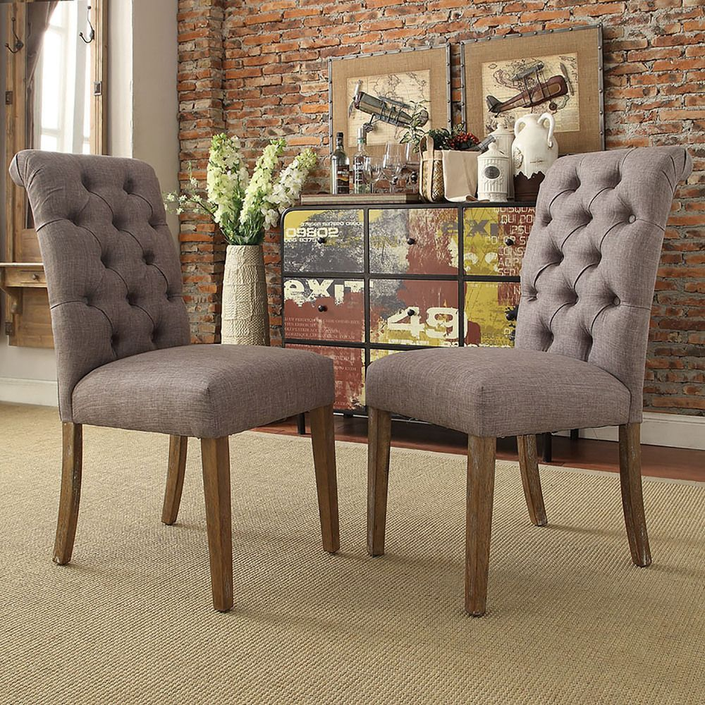 TRIBECCA HOME Benchwright Button Tufts Upholstered Rolled Back Parsons  Chairs (Set Of   Overstock™ Shopping   Great Deals On Tribecca Home Dining  Chairs
