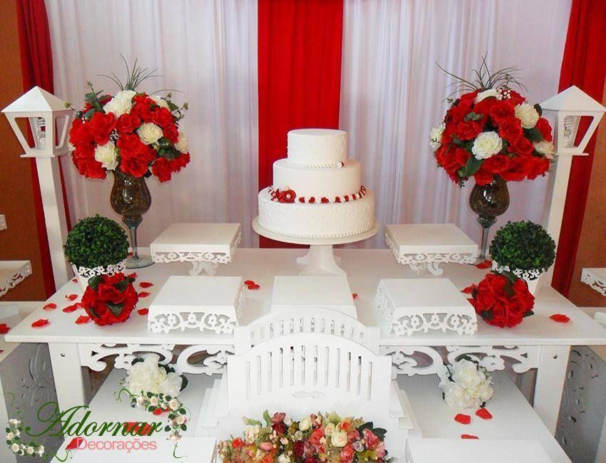 Decoraç u00e3o Casamento Vermelho e Branco casamento lana em 2019 Decorações de casamento  -> Decoração De Casamento Simples Com Tnt Vermelho E Branco