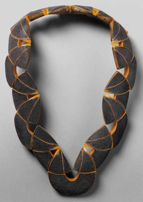 Necklace | Jean-François Perena. Leather, Stingray Shark, Brass, Plexiglass, and Maple.