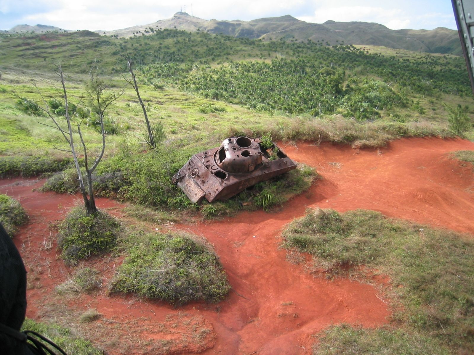 WW2 Sherman tank carcass on Guam War Relics Pinterest