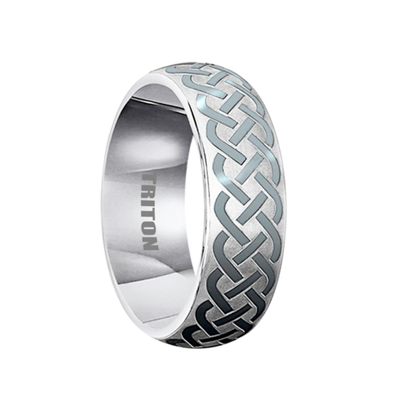 Addison Domed Tungsten Ring With Celtic Knot Design By Triton Rings 7mm Triton Rings Tungsten Mens Rings Celtic Knot Designs