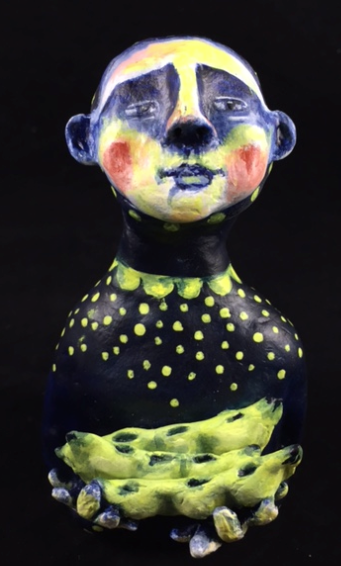 """"""" Give Peas a Chance"""", air dry clay, golden acrylics, sold"""