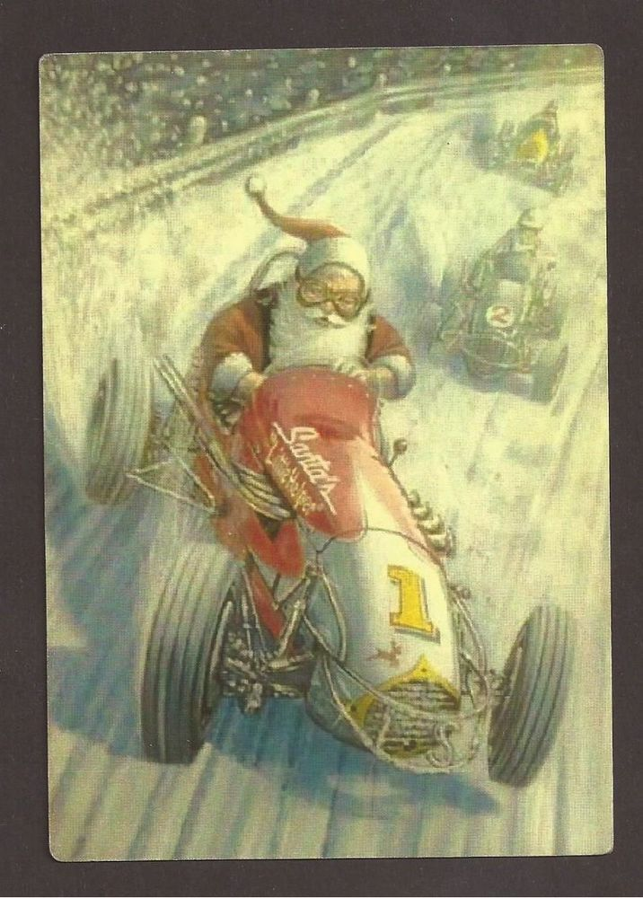 Santa Claus Race in Snow with Old Car, Postcard, Carte Postale ...