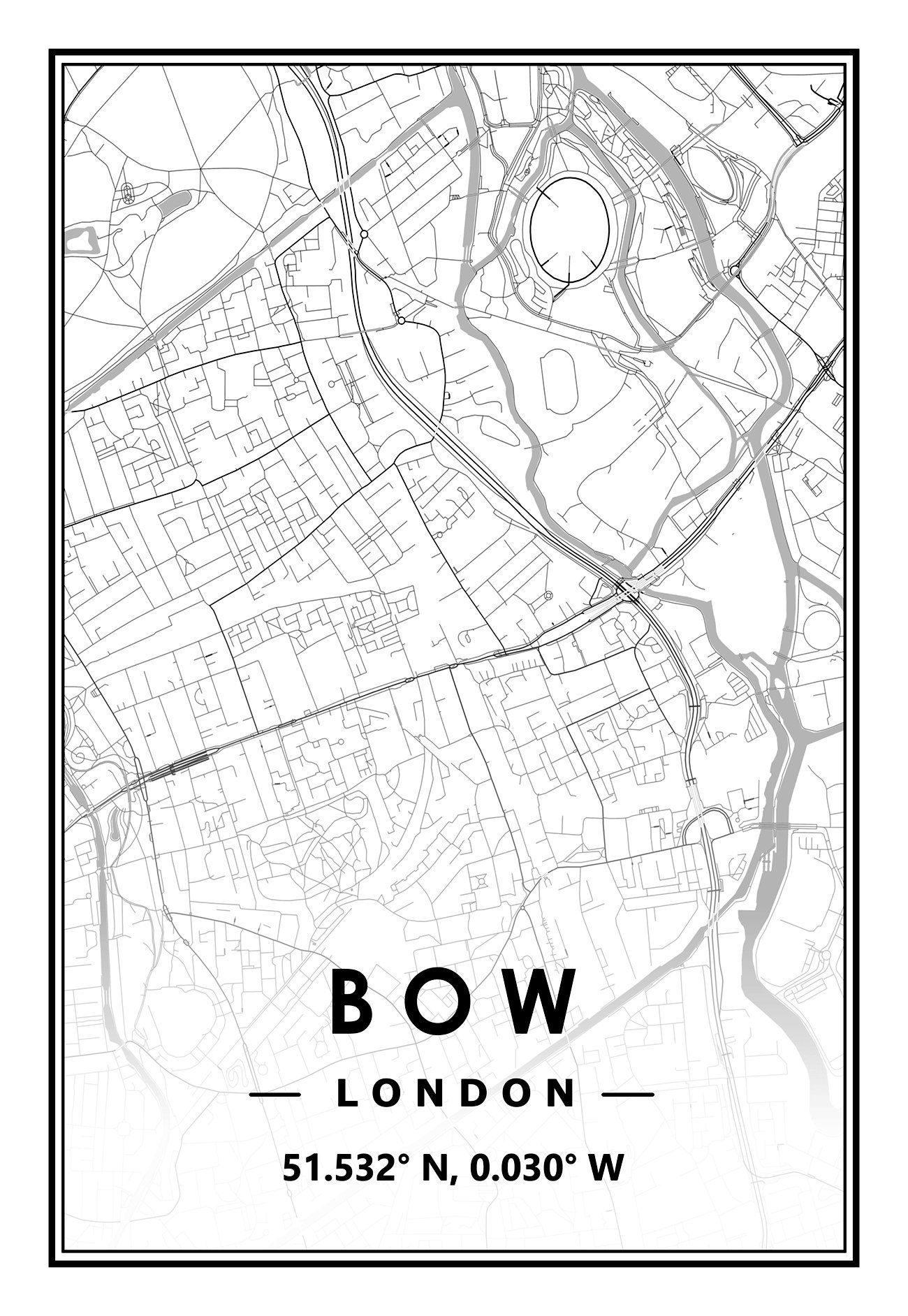 Bow London Uk Portrait Map Prints Minimal Scandinavian Nordic Etsy In 2021 Prints Map Print Artwork Prints