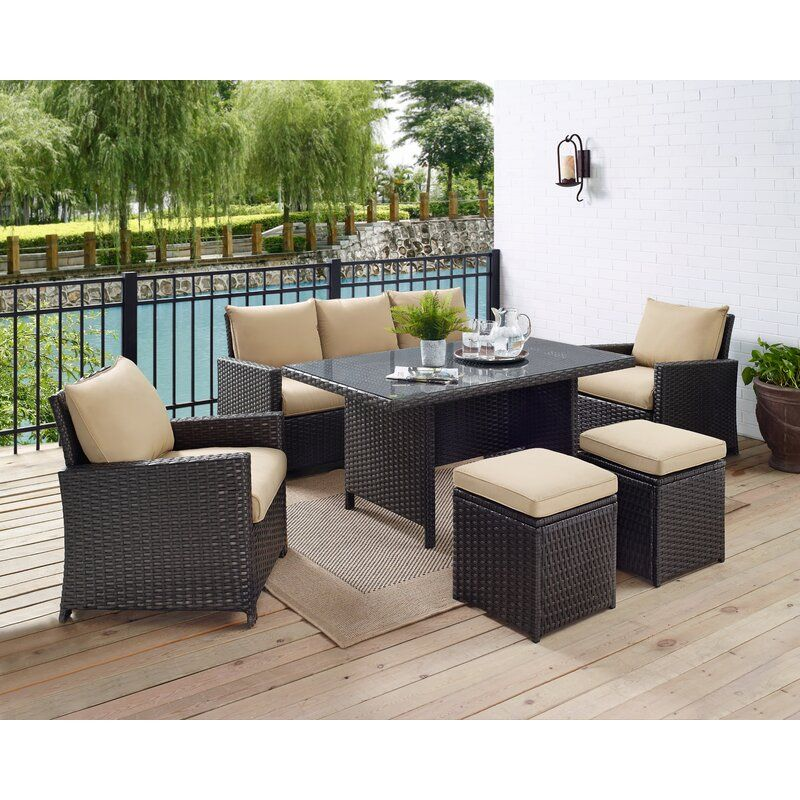 Zeringue Wicker Rattan 7 Person Seating Group With Cushions Patio Furniture Sets Outdoor Living Furniture Wayfair Patio Furniture