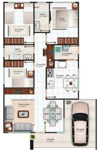 Delightful Plantas De Casas 70m2 Com 2 Quartos E 1 Suite Para Imprimir