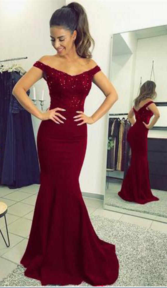 Burgundy Prom Dresses,Elegant Prom Dress,V-neck Prom Dress,Long Prom ...