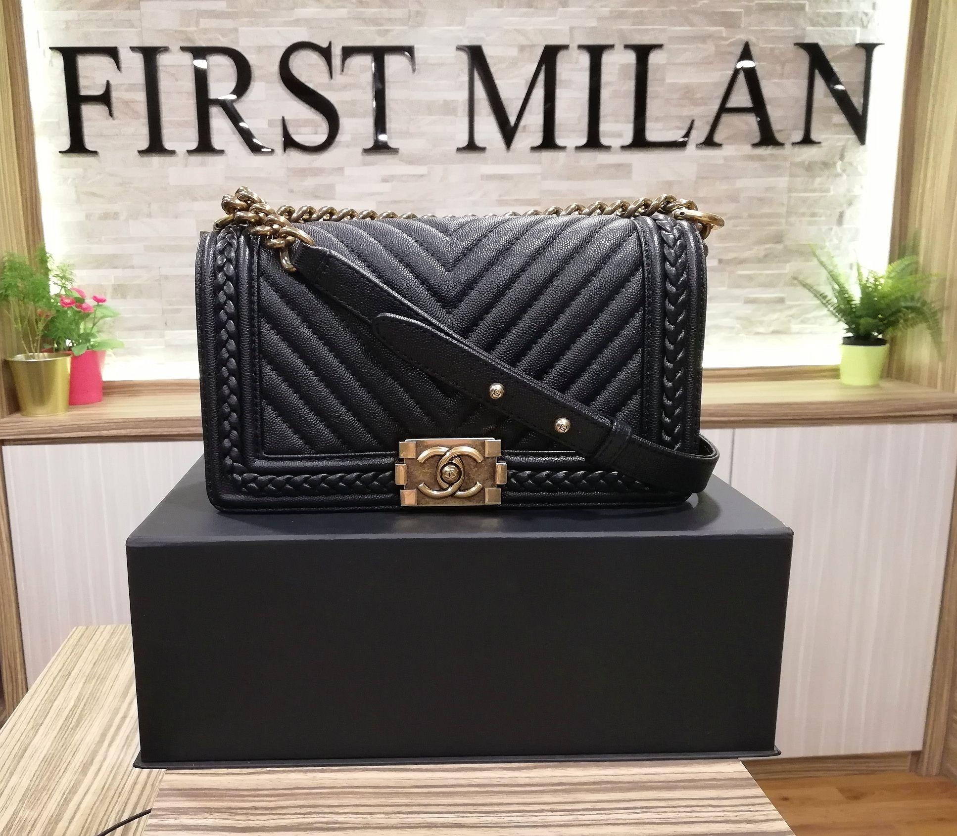 0e0753c8a882e3 CHANEL Boy Chevron Caviar Leather Braided Around Bag. Price RM18,880 ...
